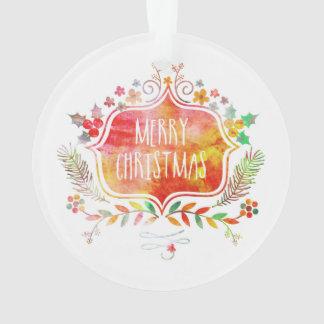 Watercolor Retro Merry Christmas Ornament