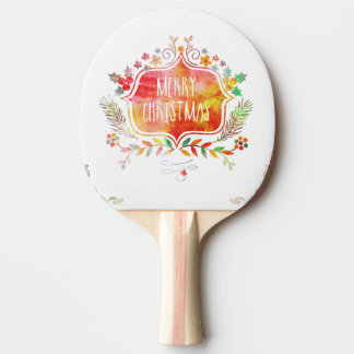 Watercolor Retro Merry Christmas Ping Pong Paddle
