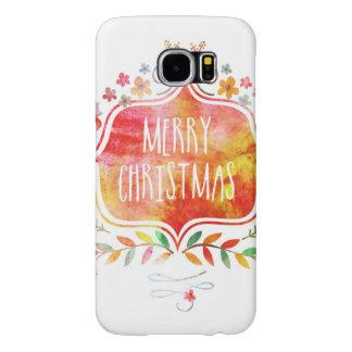 Watercolor Retro Merry Christmas Samsung Galaxy S6 Cases