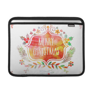 Watercolor Retro Merry Christmas Sleeve For MacBook Air