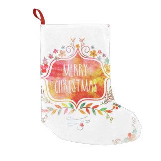 Watercolor Retro Merry Christmas Small Christmas Stocking