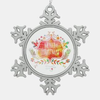 Watercolor Retro Merry Christmas Snowflake Pewter Christmas Ornament