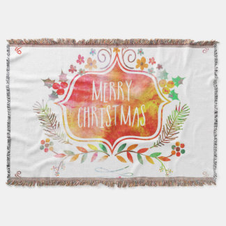 Watercolor Retro Merry Christmas Throw Blanket