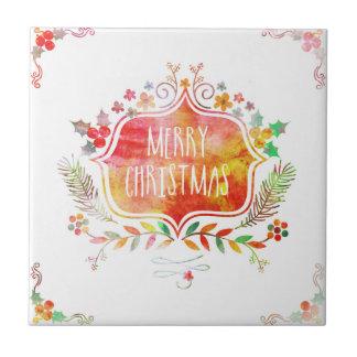 Watercolor Retro Merry Christmas Tile
