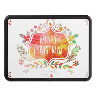 Watercolor Retro Merry Christmas Trailer Hitch Cover