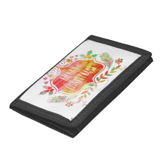 Watercolor Retro Merry Christmas Tri-fold Wallets