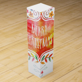 Watercolor Retro Merry Christmas Wine Box
