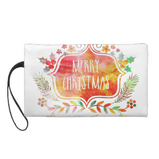 Watercolor Retro Merry Christmas Wristlet