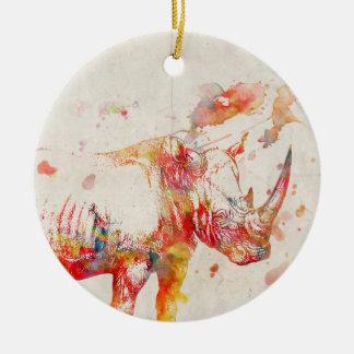Watercolor Rhino Digital Painting Round Ceramic Ornament