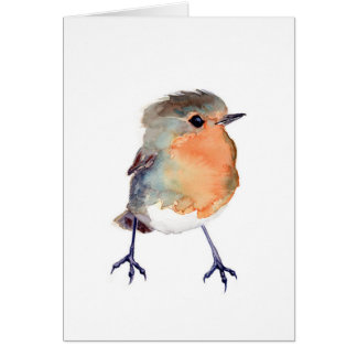 Watercolor Robin Card