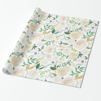 Watercolor Romantic Ivory White Gold Floral Wrapping Paper