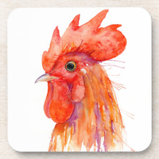 Watercolor Rooster Portrait Golden Beverage Coasters
