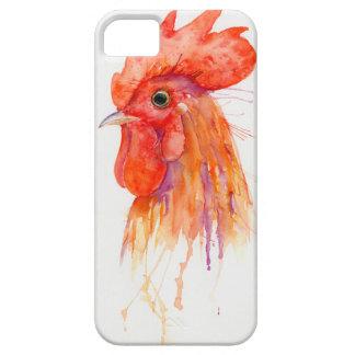 Watercolor Rooster Portrait Golden iPhone 5 Cases