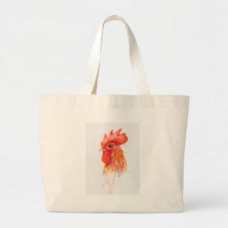 Watercolor Rooster Portrait Golden Large Tote Bag