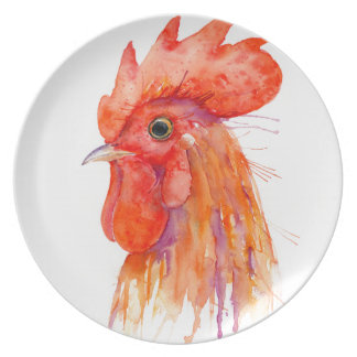Watercolor Rooster Portrait Golden Plate