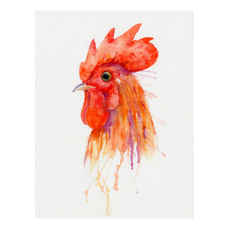 Watercolor Rooster Portrait Golden Postcard