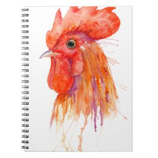 Watercolor Rooster Portrait Golden Spiral Notebook