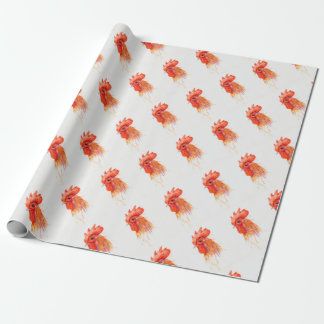 Watercolor Rooster Portrait Golden Wrapping Paper