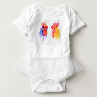 watercolor Rooster Portrait two roosters Baby Bodysuit