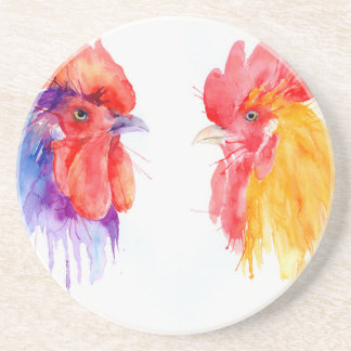 watercolor Rooster Portrait two roosters Coaster