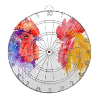 watercolor Rooster Portrait two roosters Dartboard