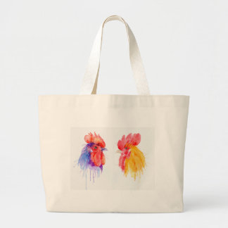 watercolor Rooster Portrait two roosters Large Tote Bag