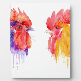 watercolor Rooster Portrait two roosters Plaque