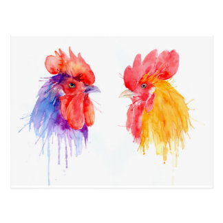 watercolor Rooster Portrait two roosters Postcard
