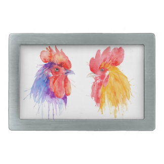 watercolor Rooster Portrait two roosters Rectangular Belt Buckles