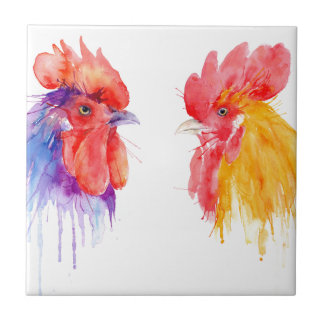 watercolor Rooster Portrait two roosters Tile
