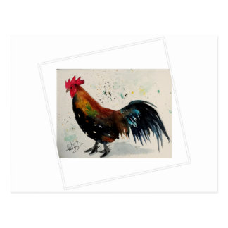 Watercolor Rooster Postcard
