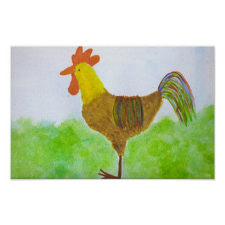 Watercolor Rooster Print