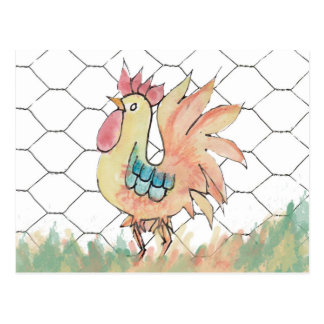 Watercolor Rooster Recipe Card Postcard