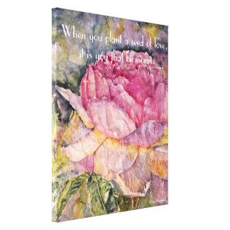 Watercolor Rose Blossom Zen Quote Canvas Print