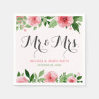 Watercolor Rose Botanical Flowers Wedding Monogram Paper Napkin