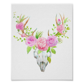 Watercolor Rose Deer Skull Art Print