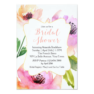 Watercolor Rose Floral Bridal Shower Card