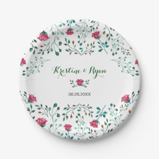 Watercolor Rose Garden Paper Plate