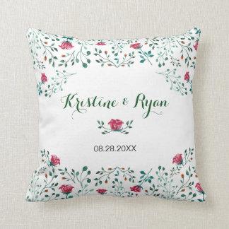 Watercolor Rose Garden Throw Pillow
