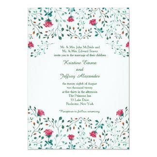 Watercolor Rose Garden Wedding Card