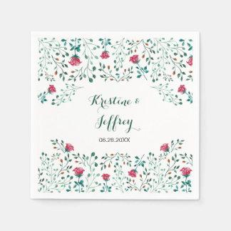 Watercolor Rose Garden Wedding Disposable Napkin