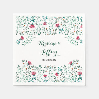 Watercolor Rose Garden Wedding Napkin