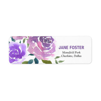 Watercolor Rose Lavender Flowers Chic