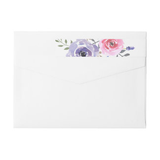 Watercolor Rose Lavender Flowers Chic Wrap Around Label