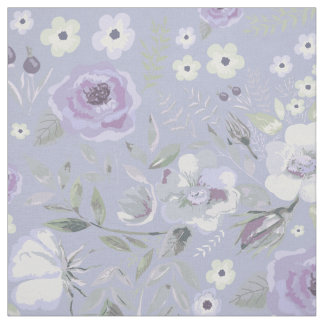 Watercolor Rosehips and Roses Floral Violet ID460 Fabric