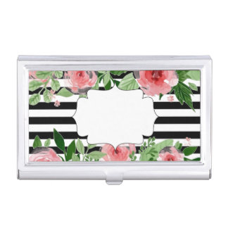 Watercolor Roses Black and White Stripe Card Case