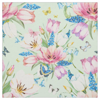 Watercolor Roses, Bluebells and Butterflies ID369 Fabric