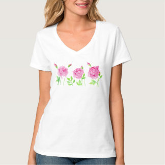 Watercolor roses female t-shirt