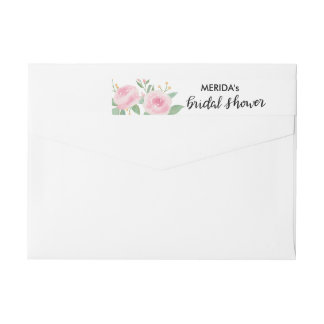 Watercolor Roses Flowers Bridal Shower Script Wrap Around Label
