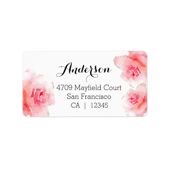 Watercolor roses large address labels